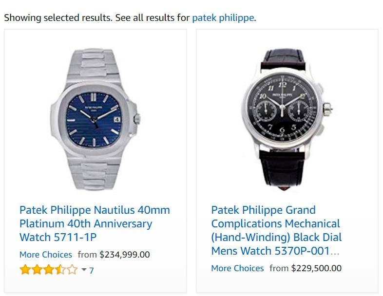 Relógios Patek Philippe na Amazon.com
